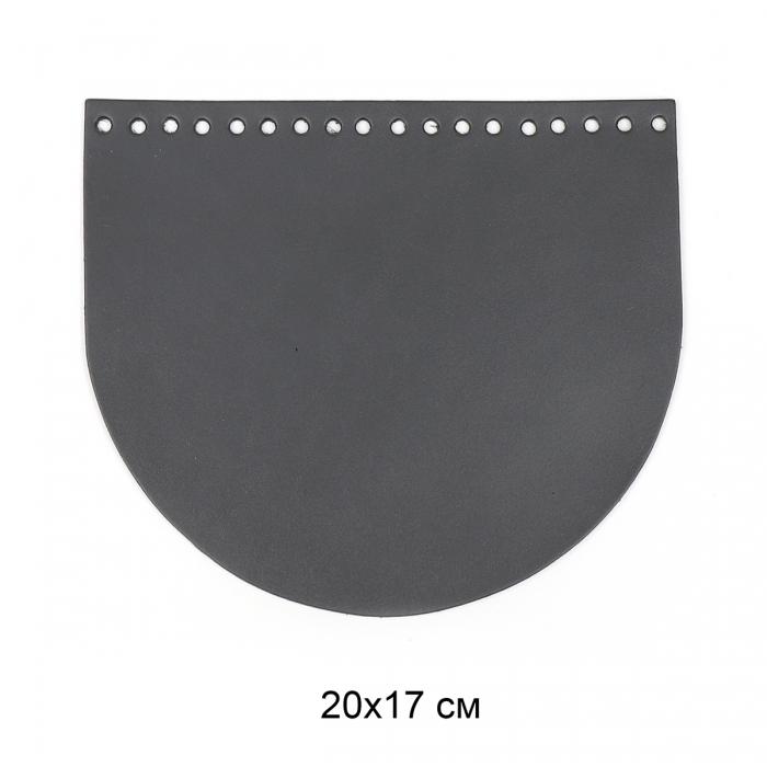 Клапан для сумки полукруг 20х17 см цв.серый (нат.кожа)