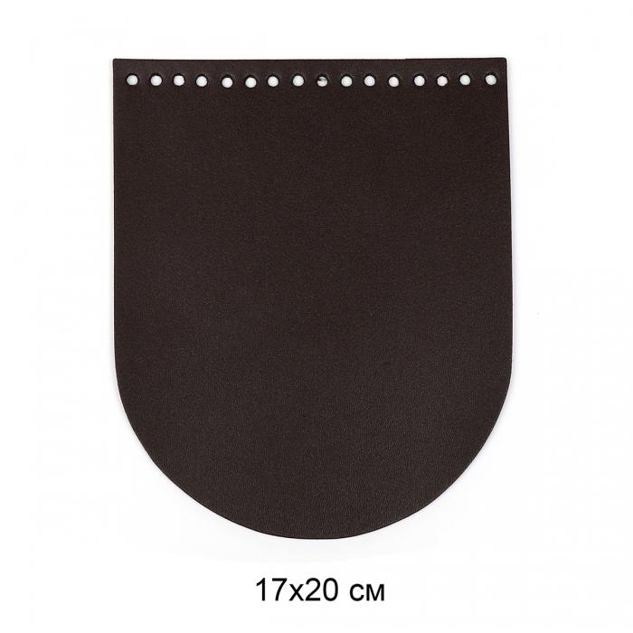 Клапан для сумки овал 17х20 см цв.шоколад (нат.кожа)