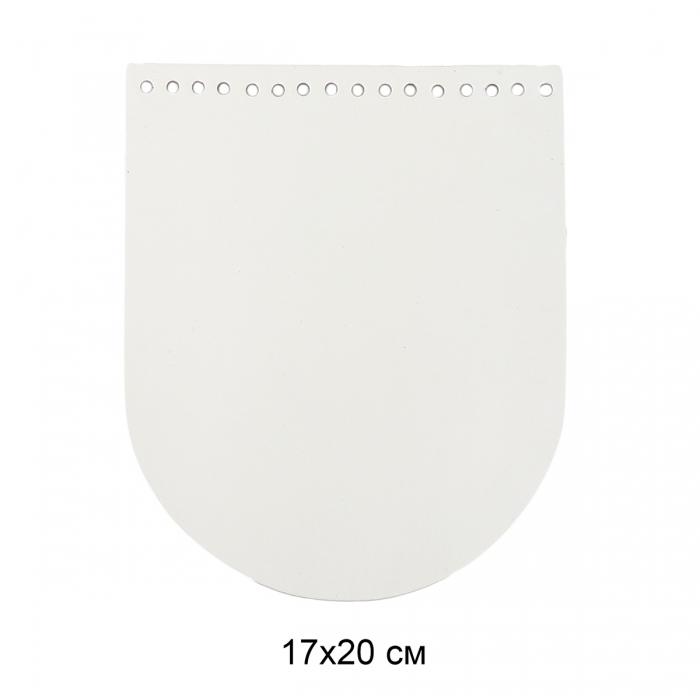 Клапан для сумки овал 17х20 см цв.белый (нат.кожа)