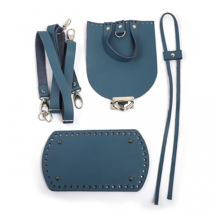 Набор для рюкзака цв.джинс (нат.кожа)