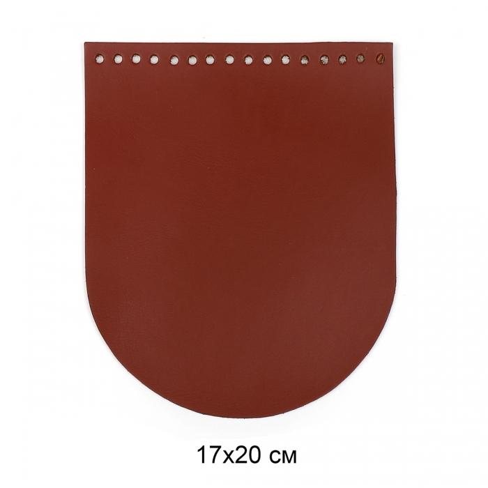 Клапан для сумки овал 17х20 см цв.коньяк (нат.кожа)