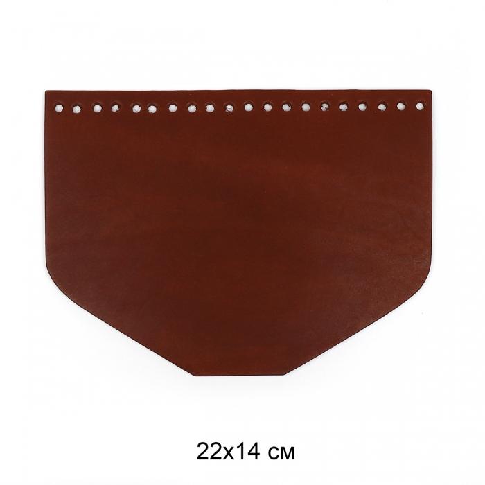 Клапан для сумки трапеция 22х14 см цв.коньяк (нат.кожа)
