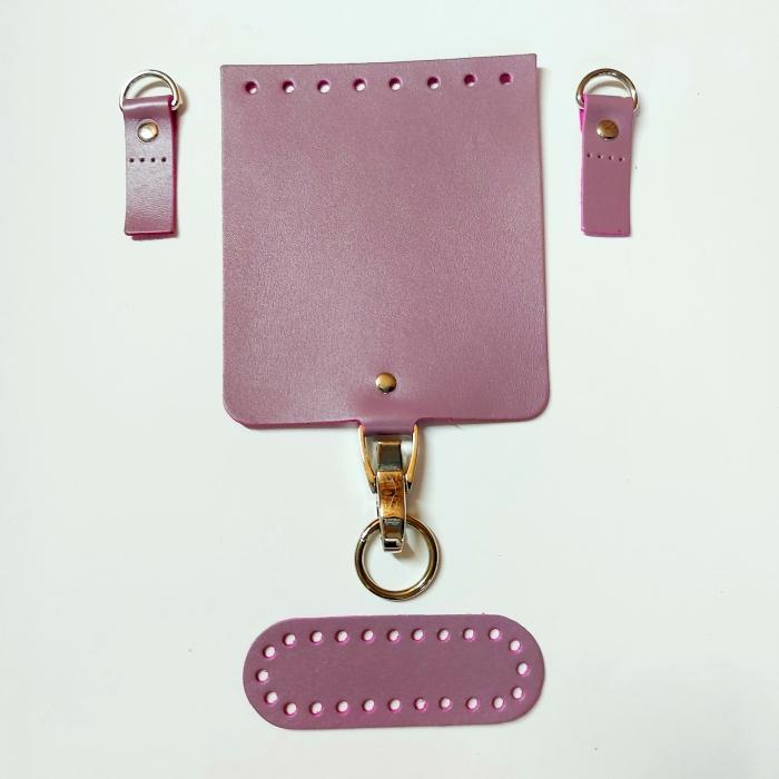 Набор для мини-сумки цв.лиловый (нат.кожа)