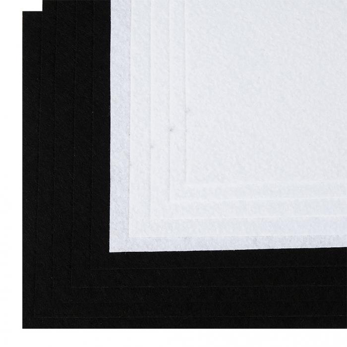 Набор листового фетра (мягкий) IDEAL 1мм 20х30см арт.FLT-SA8 уп.10 листов цв.белый,черный