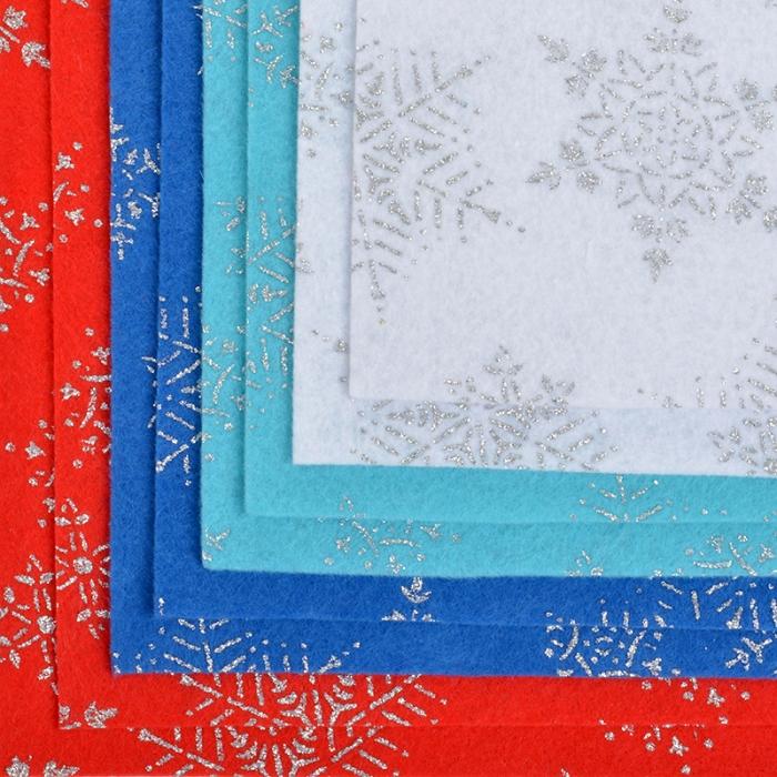 Набор декоративного фетра с глиттером Снежинки IDEAL 1,4мм 20х30см арт.FLT-GLP1 уп.8 листов цв.ассорти