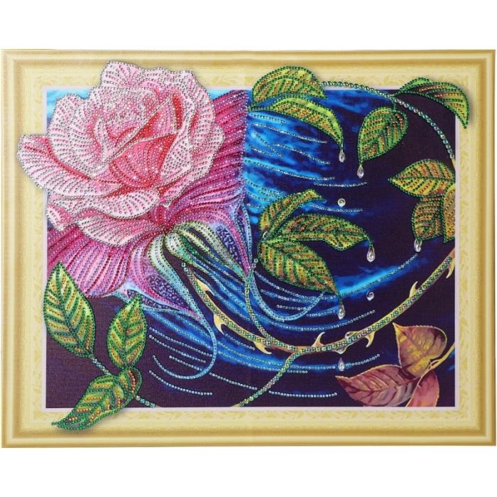 Набор Колор Кит картина алмазная с фигурными стразами арт.КК.FKA009 Чайная роза 40х50