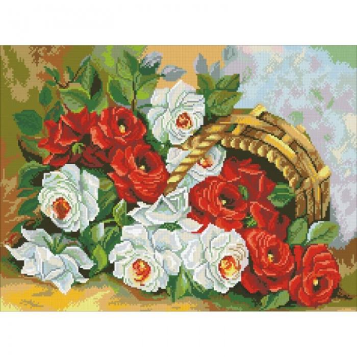 Набор Паутинка для изготовления картины со стразами арт.М210 Корзина роз 41х55 см