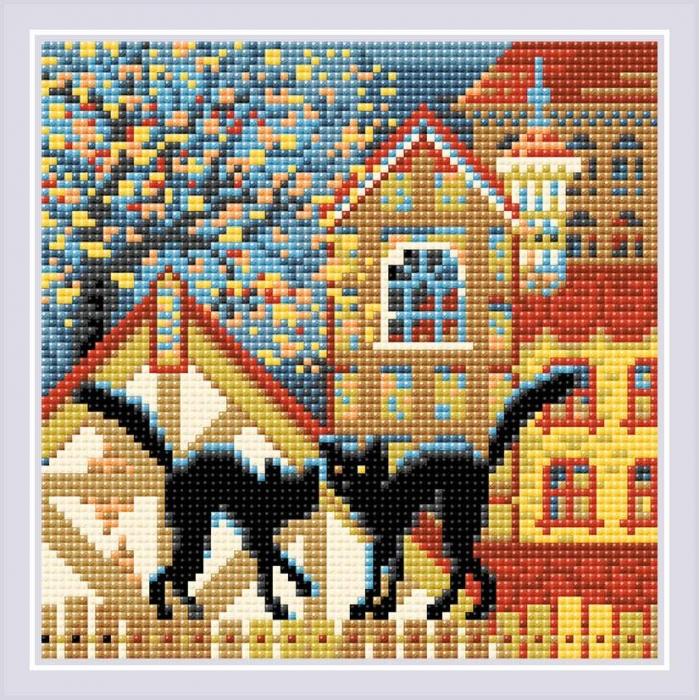 Набор РИОЛИС мозаичная картина арт.AM0049 Город и кошки. Осень 20х20 см