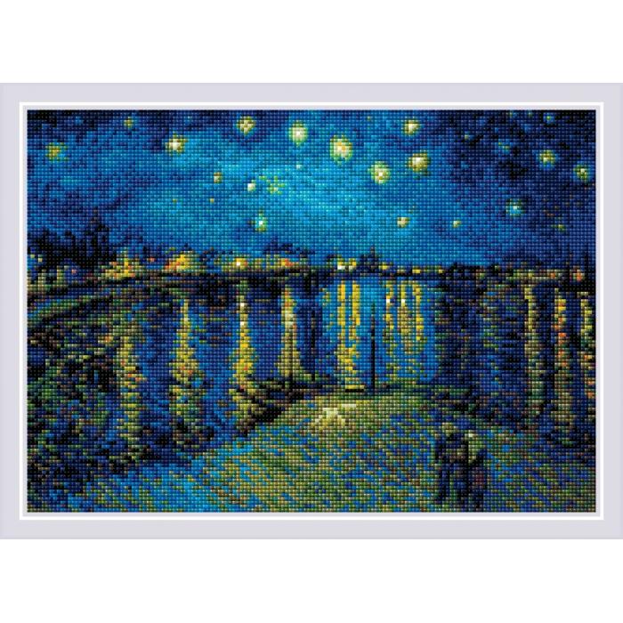 Набор РИОЛИС мозаичная картина арт.AM0044 Звездная ночь над Роной, по мотивам картины Ван Гога 38х27 см