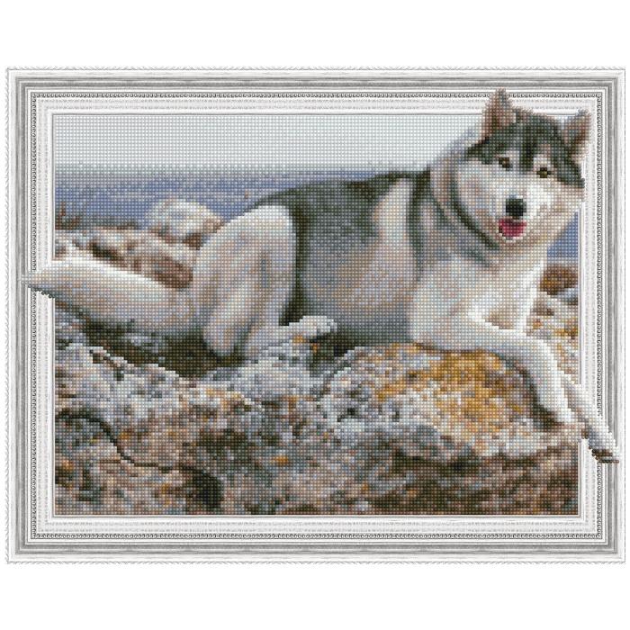 Картина 3D мозаика с нанесенной рамкой Molly арт.KM0786 На берегу моря (29 цветов) 40х50 см