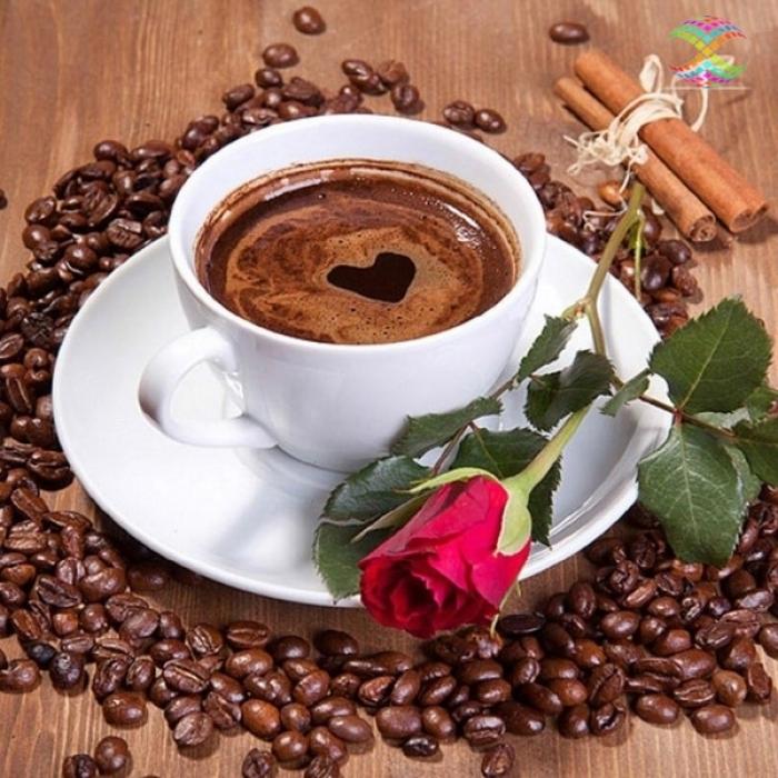 Алмазная мозаика Ah0104 Кофе и красная роза 40х40