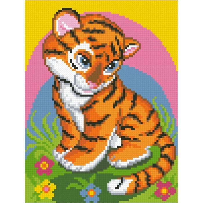 Набор Паутинка для изготовления картины со стразами арт.М151 Тигрёнок 18х24 см