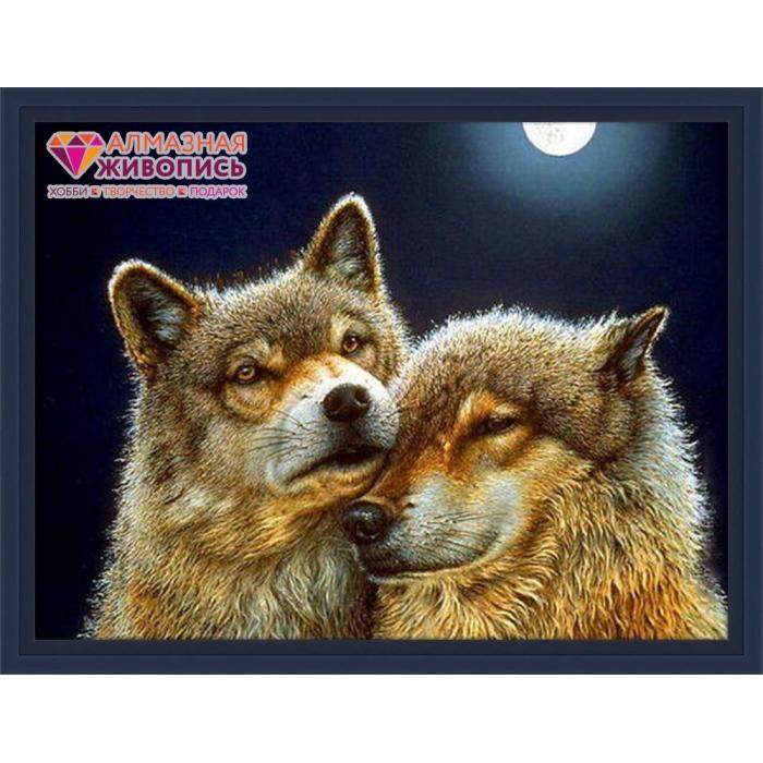 Набор для изготовления картин АЛМАЗНАЯ ЖИВОПИСЬ арт.АЖ.1200 Волк и волчица 60х45 см