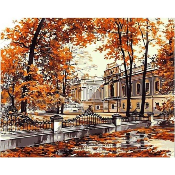 Алмазная мозаика Ah5177 Осенний парк 40х50