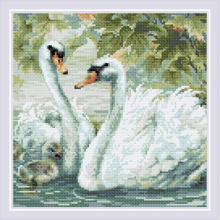 Набор РИОЛИС мозаичная картина арт.AM0036 Белые лебеди 30х30 см