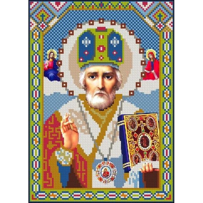 Алмазная мозаика Ah3147 Икона Святого Николая 22х30 ч/в