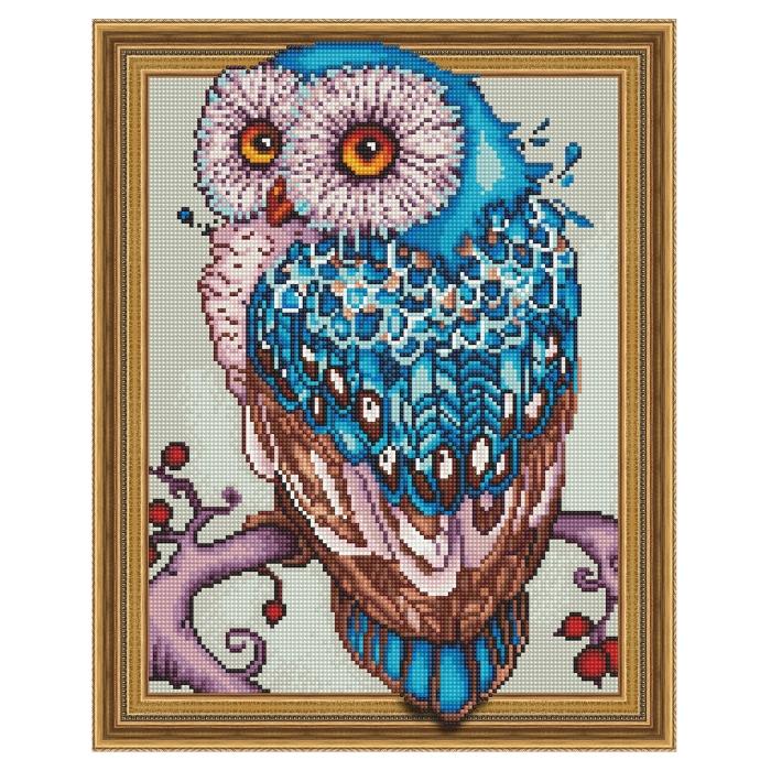 Картина 3D мозаика с нанесенной рамкой Molly арт.KM0767 Мудрая сова (30 цветов) 40х50 см