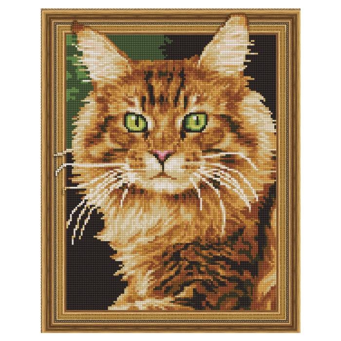 Картина 3D мозаика с нанесенной рамкой Molly арт.KM0741 Рыжий кот (20 цветов) 40х50 см