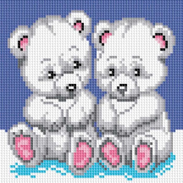 Набор Белоснежка для изготовления картин со стразами на подрамнике арт.БЛ.019-ST-S Медвежата 20х20см