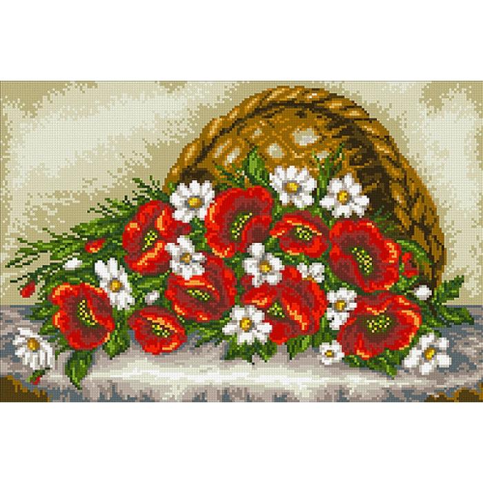 Набор Паутинка для изготовления картины со стразами арт.М260 Маки и ромашки 45х30 см