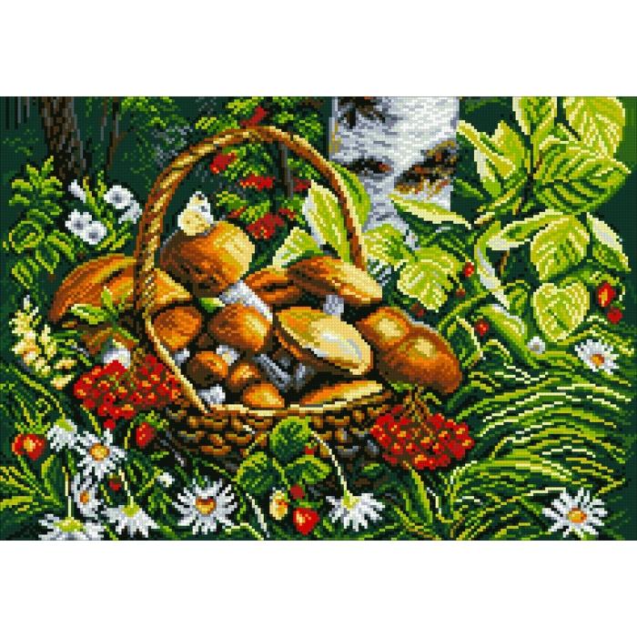 Набор Паутинка для изготовления картины со стразами арт.М263 Дары леса 50х35 см
