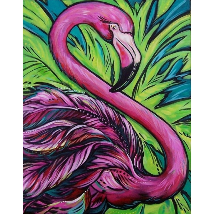 Набор Колор Кит картина со стразами арт.КК.CKC007 Розовый фламинго 40х50