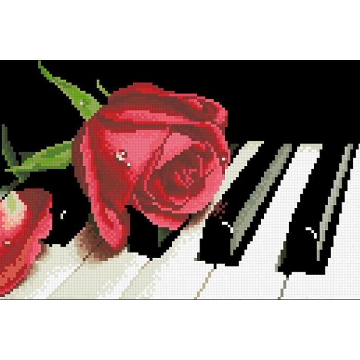 Набор Паутинка для изготовления картины со стразами арт.М245 Роза на рояле 35х20 см