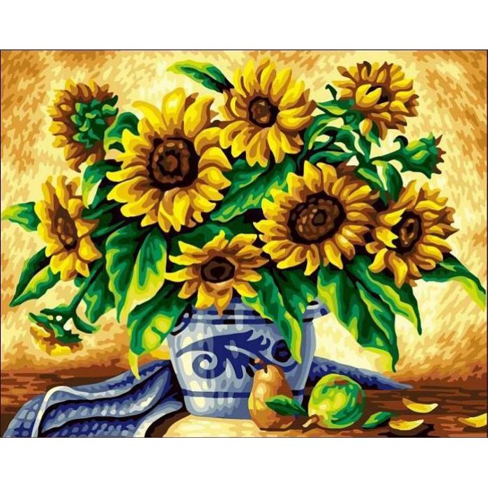 Алмазная мозаика Ah5118 Желтые подсолнухи в синей вазе 30х40