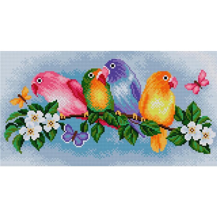 Набор для изготовления картин со стразами Вышиваем бисером арт.ВБ.V-9 Попугай 40х21 см