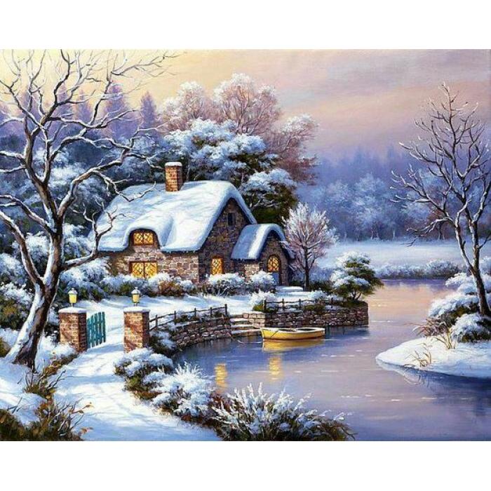 Алмазная мозаика Ah5262 Уютный домик 40х50