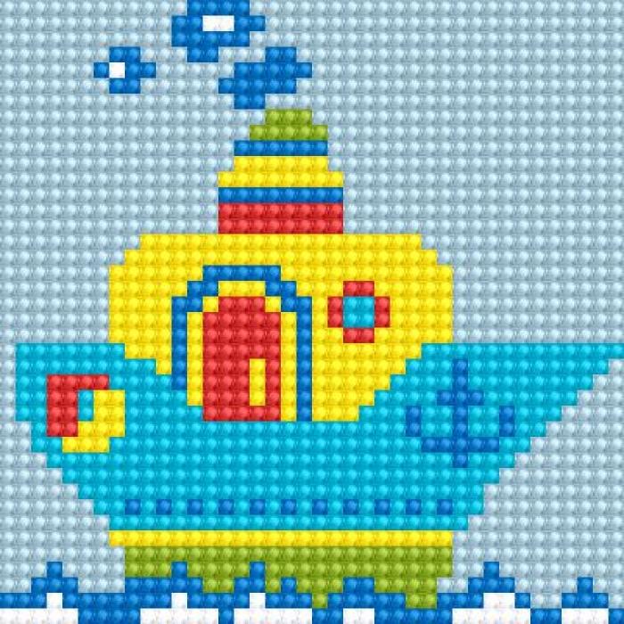 Алмазная мозаика Ah5217 Кораблик 10х10