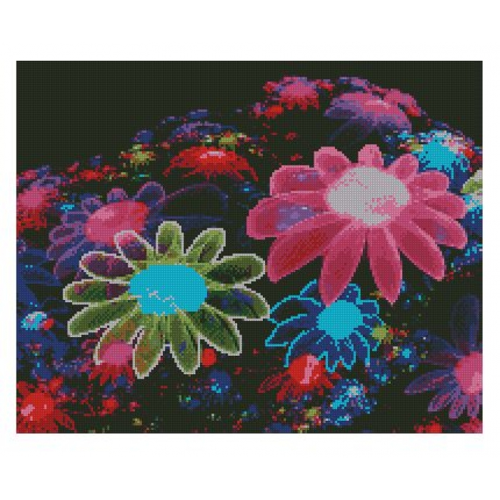 Набор алмазной живописи с подрамником Алмазная вышивка арт.СК-630(П) Радужные цветы 40х50 см