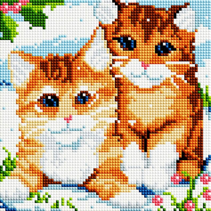 Набор Белоснежка для изготовления картин со стразами арт.БЛ.469-ST-PS Рыжие котята 20х20 см