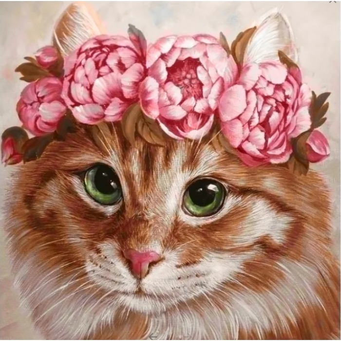 Алмазная мозаика на холсте ГРАННИ арт.Ag2275 Весенняя кошка 20х20см