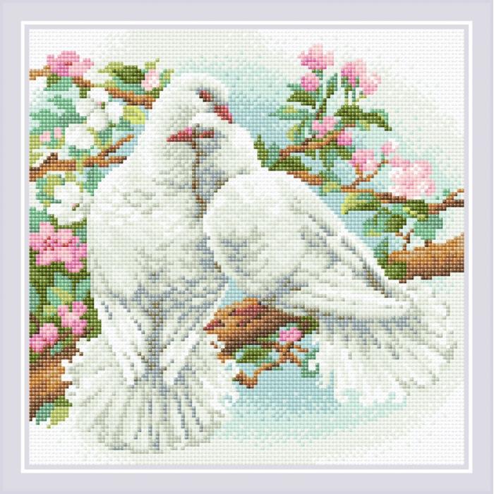 Набор РИОЛИС мозаичная картина арт.АМ0058 Белые голуби 30х30 см