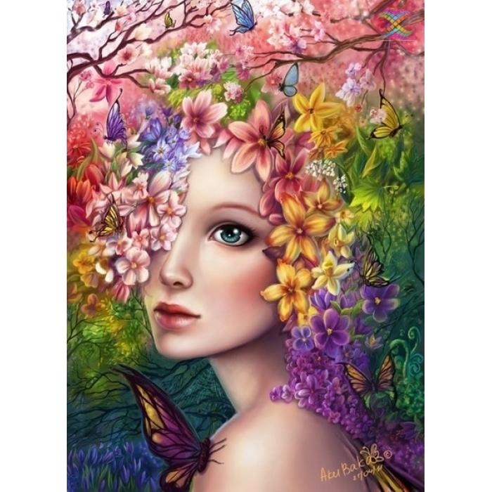 Алмазная мозаика Ah3332 Девушка-весна 30х40