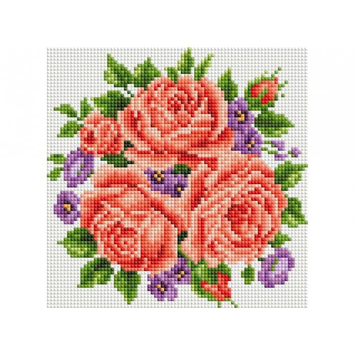 Набор Белоснежка для изготовления картин со стразами арт.БЛ.459-ST-PS Розы и фиалки 20х20 см