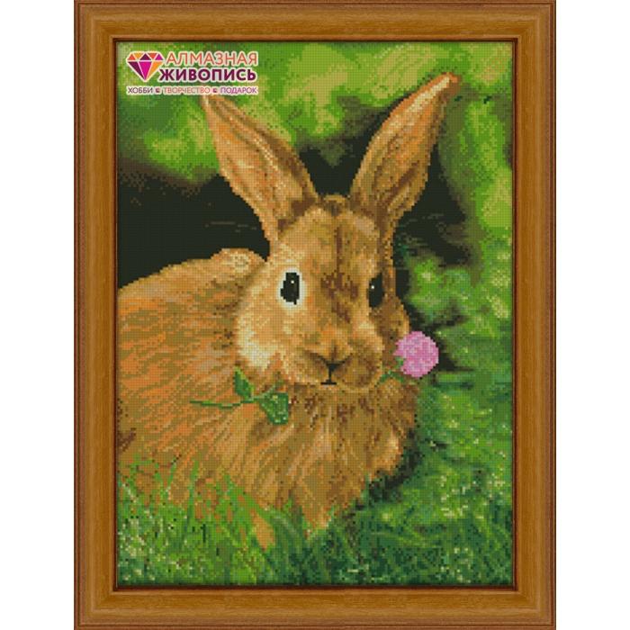 Набор для изготовления картин АЛМАЗНАЯ ЖИВОПИСЬ арт.АЖ.1082 Кролик на обеде 38х52 см