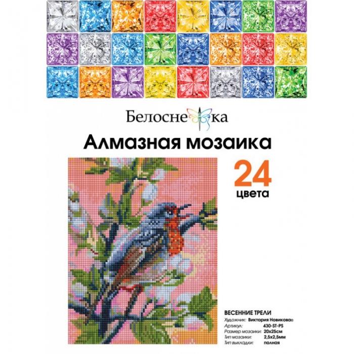 Набор Белоснежка для изготовления картин со стразами арт.БЛ.430-ST-PS Весенние трели 20х25 см