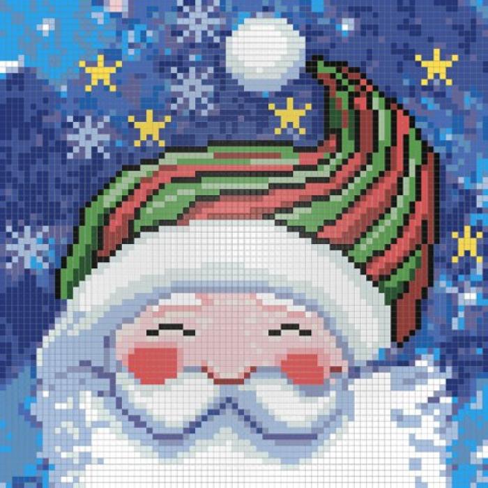 Набор для изготовления картин АЛМАЗНАЯ ЖИВОПИСЬ арт.АЖ.1259 Портрет Деда Мороза 20х20 см