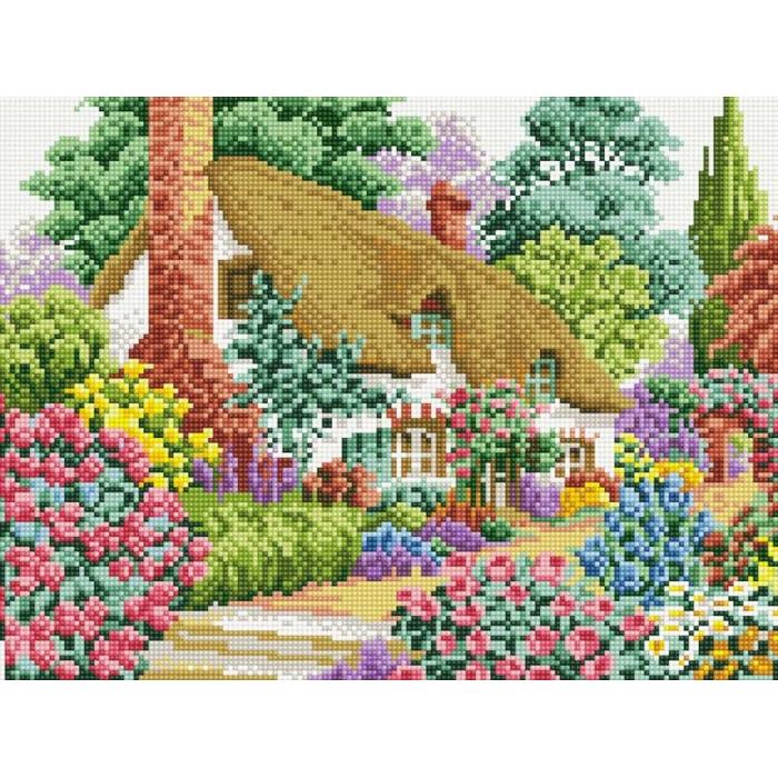 Набор Белоснежка для изготовления картин со стразами на подрамнике арт.БЛ.080-ST-S Дом в саду 30х40см