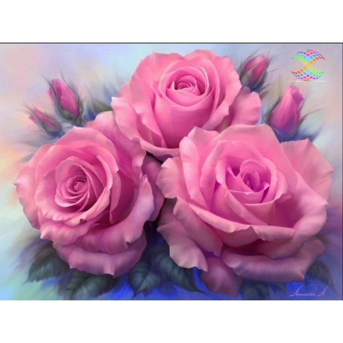Алмазная мозаика Ah3537 Розовые розы 30х40