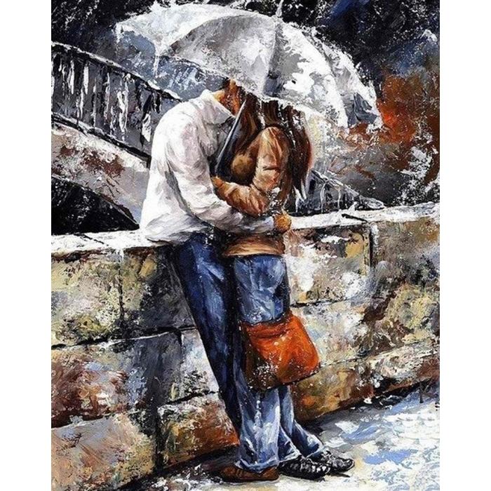 Алмазная мозаика на холсте ГРАННИ арт.Ag833 Романтическая прогулка под дождем 38х48см