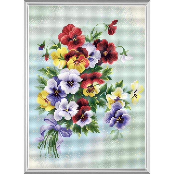 Набор РИОЛИС мозаичная картина арт.AM0016 Пестрые анютки 27х38 см