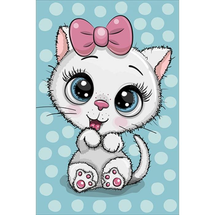 Алмазная вышивка Милый котенок с бантиком LC040 20х30 см Цветной