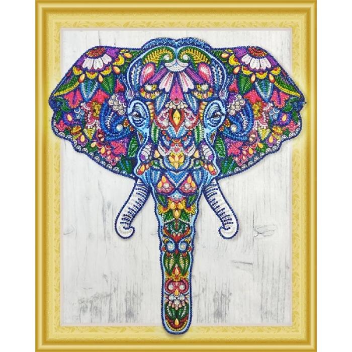 Набор Колор Кит картина алмазная с фигурными стразами арт.КК.FKU008 Индийский слон 40х50