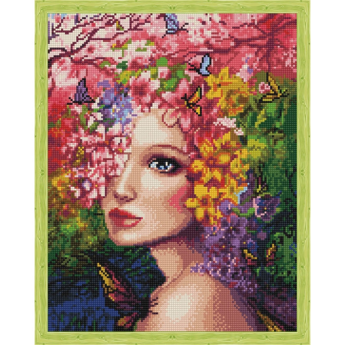 Алмазная вышивка Весенняя фея QA202781 40х50 тм Цветной