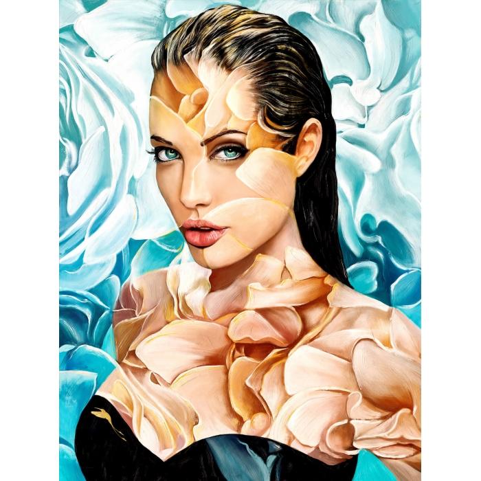 Алмазная вышивка Анджелина Джоли LMC014 50х65 тм Цветной