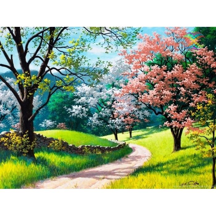 Алмазная мозаика Ah2356 Цветущая весна 40х50