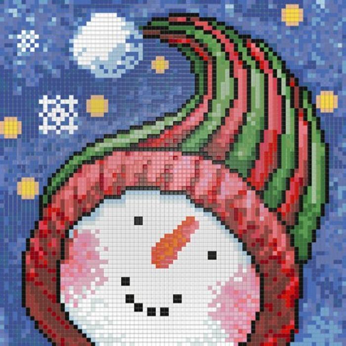Набор для изготовления картин АЛМАЗНАЯ ЖИВОПИСЬ арт.АЖ.1262 Портрет Снеговика 20х20 см